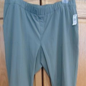T by Talbots Green Cropped Pants - 1X